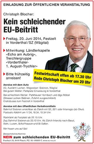 Veranstaltungshinweis: Kein schleichender EU-Beitritt