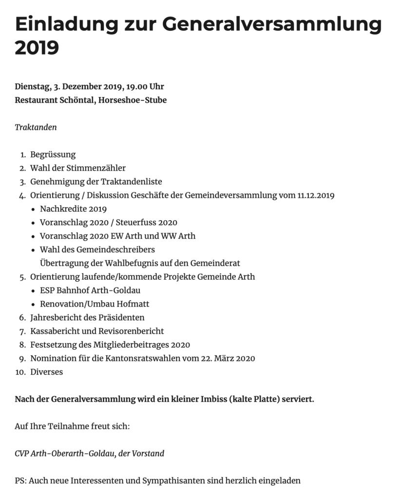 Einladung zur Generalversammlung 2019 der CVP-Ortspartei