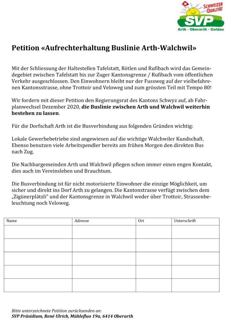 Petition «Aufrechterhaltung Buslinie Arth-Walchwil»