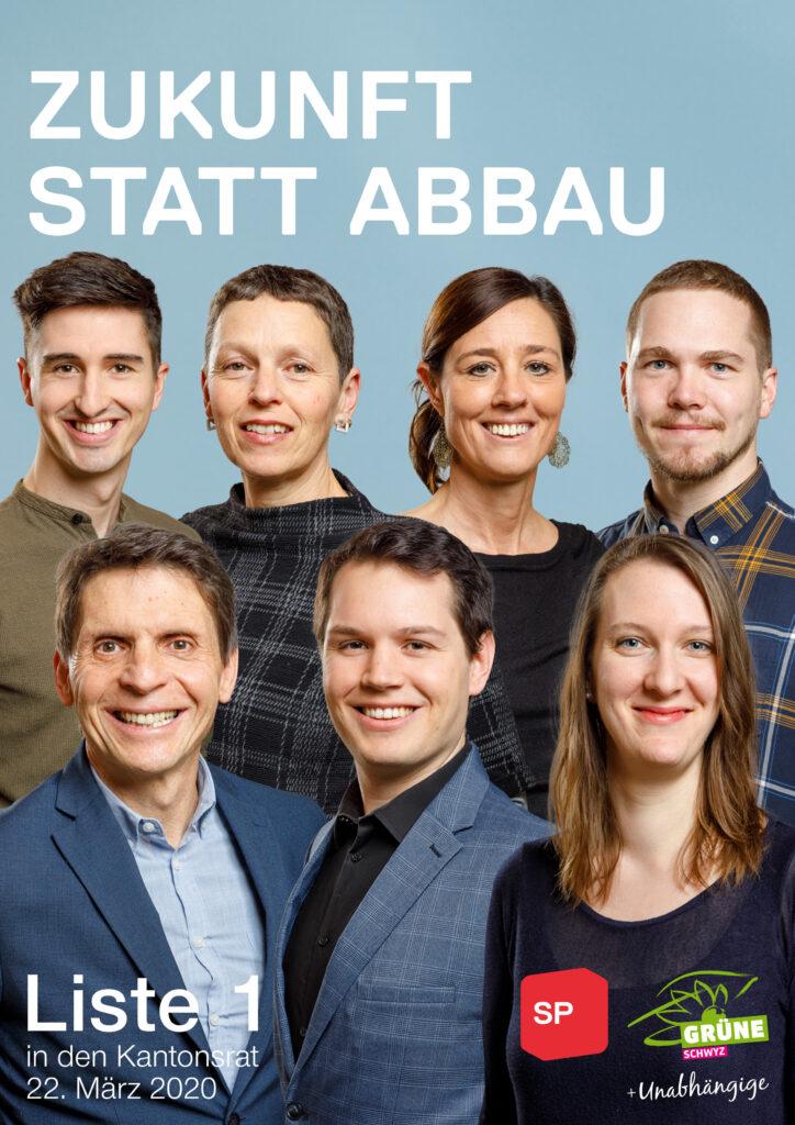 Am 22. März 2020 SP, Grüne und Unabhängige auf Liste 1 in den Kantonsrat
