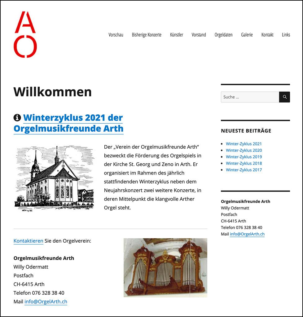 Orgelmusikfreunde Arth: Vorschau Winter-Zyklus 2021